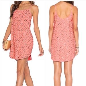 NBD Revolve Hypnotize Me Beaded Shift Coral Dress